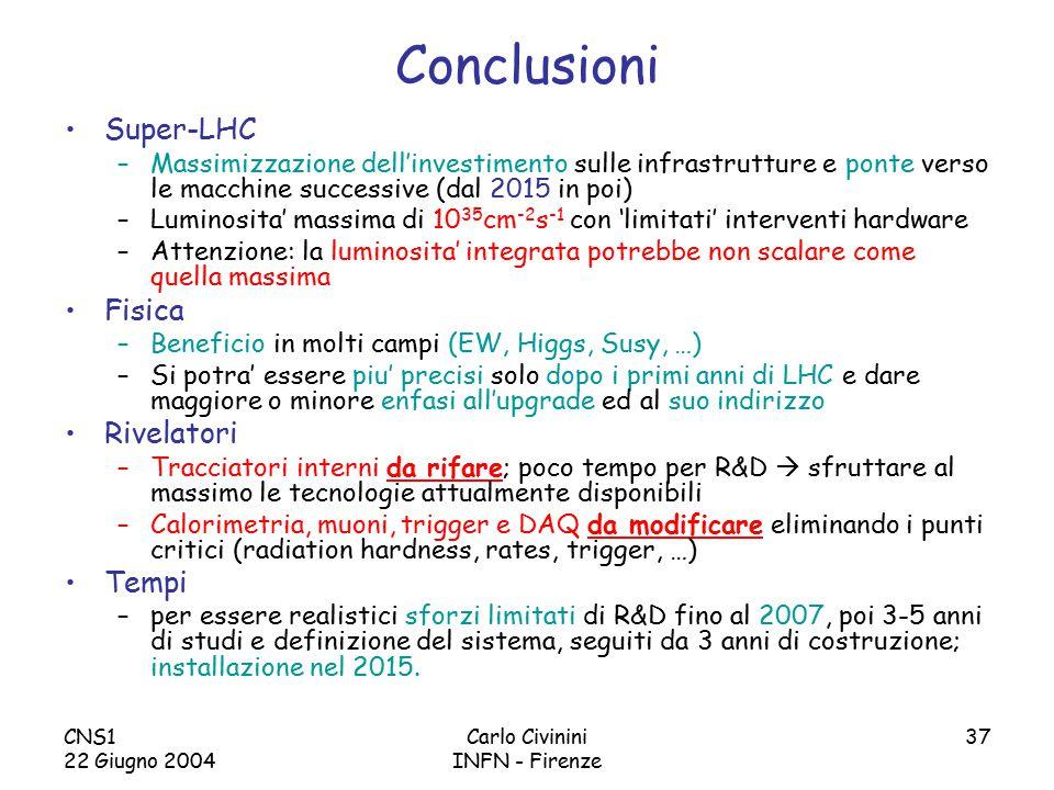 CNS1 22 Giugno 2004 Carlo Civinini INFN - Firenze 37 Conclusioni Super-LHC –Massimizzazione dell'investimento sulle infrastrutture e ponte verso le macchine successive (dal 2015 in poi) –Luminosita' massima di 10 35 cm -2 s -1 con 'limitati' interventi hardware –Attenzione: la luminosita' integrata potrebbe non scalare come quella massima Fisica –Beneficio in molti campi (EW, Higgs, Susy, …) –Si potra' essere piu' precisi solo dopo i primi anni di LHC e dare maggiore o minore enfasi all'upgrade ed al suo indirizzo Rivelatori –Tracciatori interni da rifare; poco tempo per R&D  sfruttare al massimo le tecnologie attualmente disponibili –Calorimetria, muoni, trigger e DAQ da modificare eliminando i punti critici (radiation hardness, rates, trigger, …) Tempi –per essere realistici sforzi limitati di R&D fino al 2007, poi 3-5 anni di studi e definizione del sistema, seguiti da 3 anni di costruzione; installazione nel 2015.