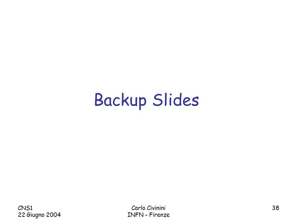 CNS1 22 Giugno 2004 Carlo Civinini INFN - Firenze 38 Backup Slides