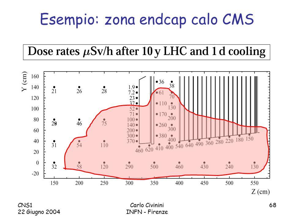 CNS1 22 Giugno 2004 Carlo Civinini INFN - Firenze 68 Esempio: zona endcap calo CMS