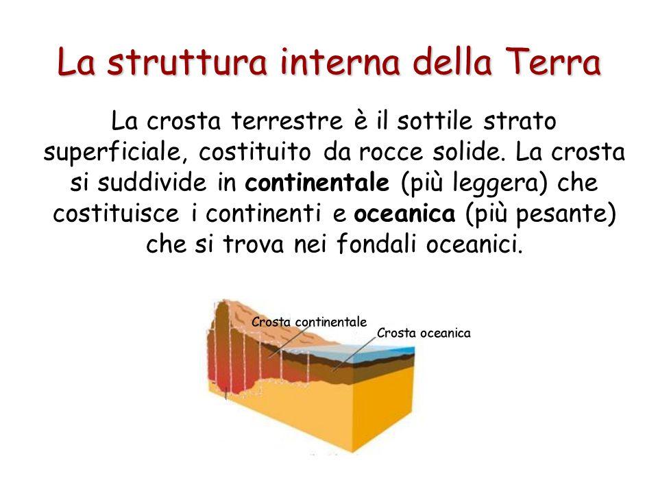 La crosta terrestre è il sottile strato superficiale, costituito da rocce solide. La crosta si suddivide in continentale (più leggera) che costituisce