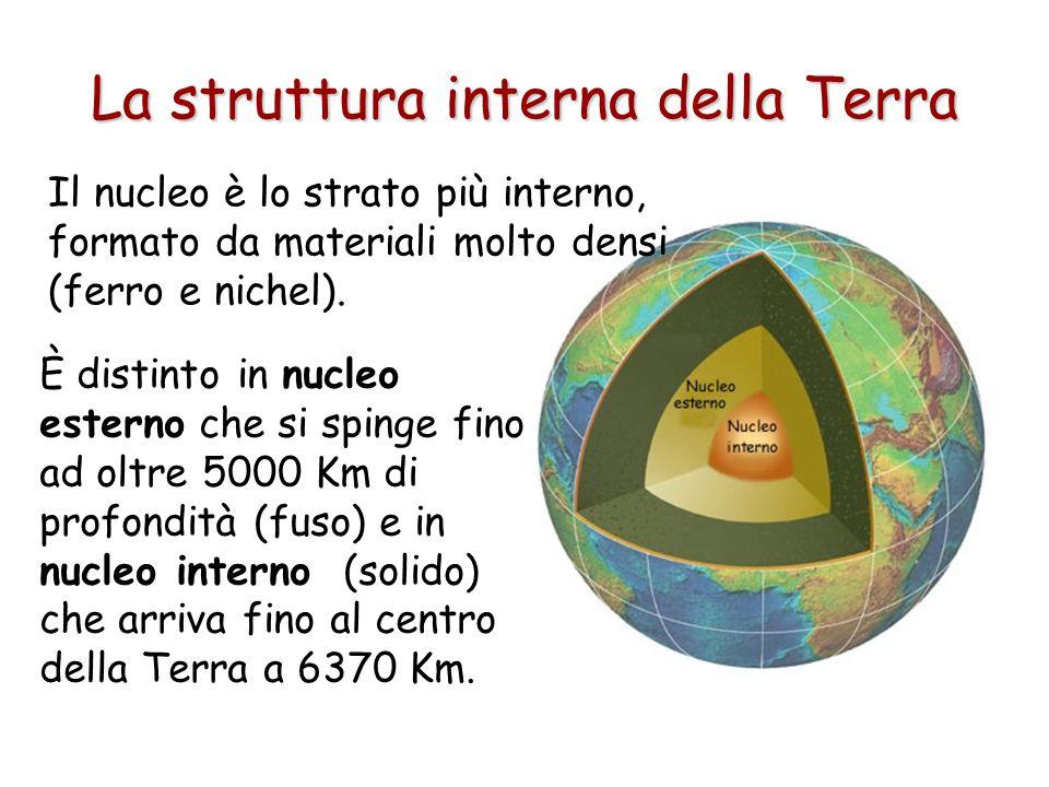È distinto in nucleo esterno che si spinge fino ad oltre 5000 Km di profondità (fuso) e in nucleo interno (solido) che arriva fino al centro della Ter