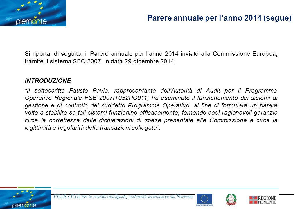 FESR e FSE per la crescita intelligente, sostenibile ed inclusiva del Piemonte Parere annuale per l'anno 2014 PORTATA DELL'ESAME L esame è stato effettuato conformemente alla strategia di audit relativa a questo Programma durante il periodo compreso tra il 1° luglio 2013 e il 30 giugno 2014 e descritto nel Rapporto Annuale di Controllo allegato di cui all articolo 62, paragrafo 1, lettera d), punto i) del Regolamento (CE) n.