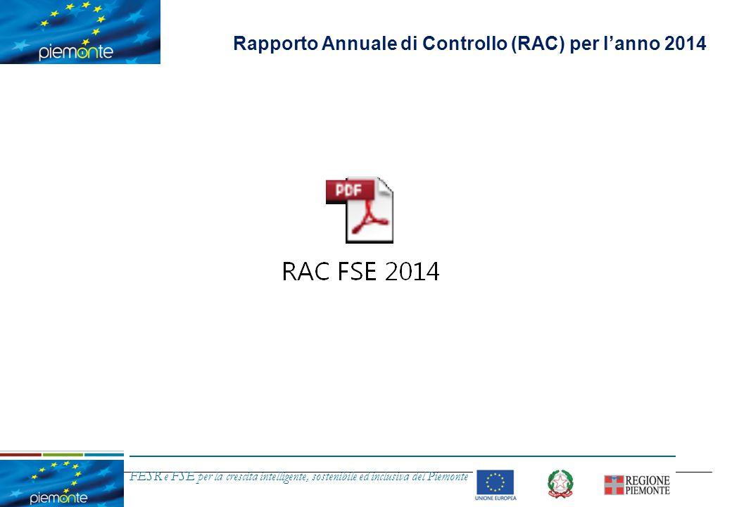 FESR e FSE per la crescita intelligente, sostenibile ed inclusiva del Piemonte Contenuti dell'intervento Parere annuale per l anno 2014 Rapporto Annuale di Controllo (RAC) per l'anno 2014 Valutazione da parte della Commissione Europea