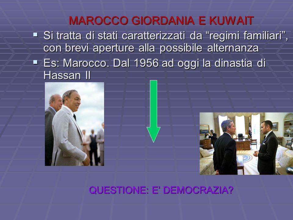 """MAROCCO GIORDANIA E KUWAIT  Si tratta di stati caratterizzati da """"regimi familiari"""", con brevi aperture alla possibile alternanza  Es: Marocco. Dal"""