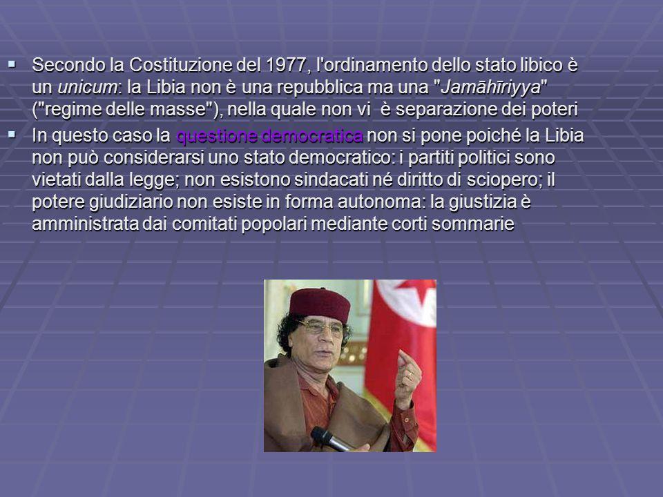  Secondo la Costituzione del 1977, l'ordinamento dello stato libico è un unicum: la Libia non è una repubblica ma una