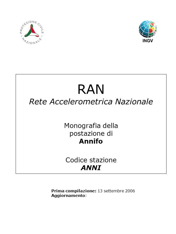 RAN Rete Accelerometrica Nazionale Monografia della postazione di Annifo Codice stazione ANNI Prima compilazione: 13 settembre 2006 Aggiornamento: