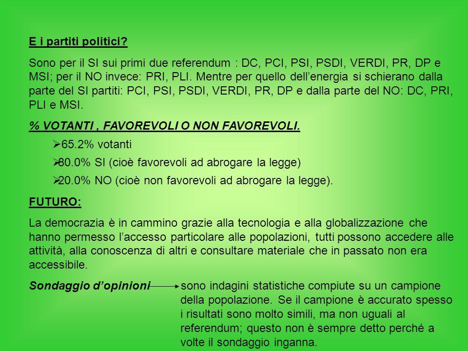 E i partiti politici? Sono per il SI sui primi due referendum : DC, PCI, PSI, PSDI, VERDI, PR, DP e MSI; per il NO invece: PRI, PLI. Mentre per quello