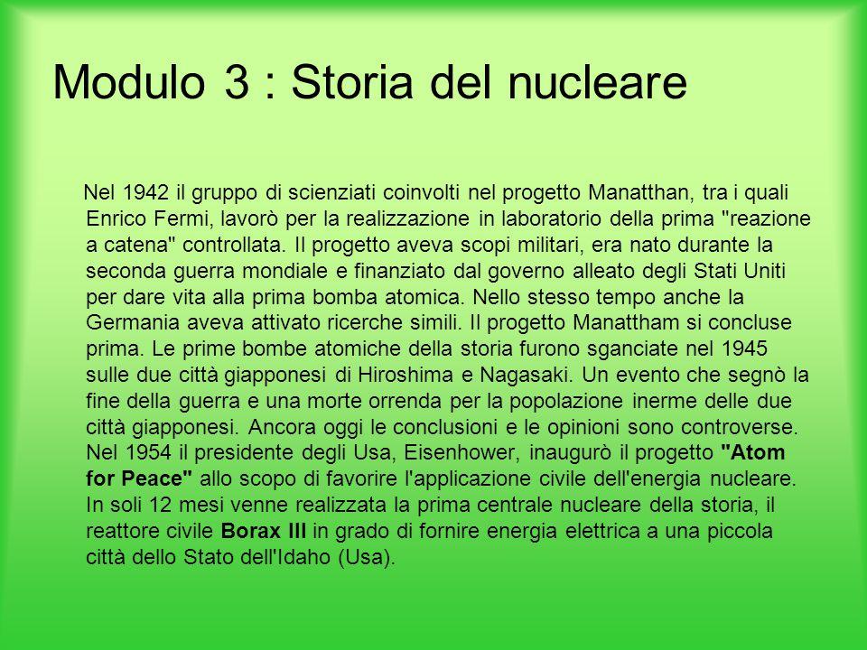 Modulo 3 : Storia del nucleare Nel 1942 il gruppo di scienziati coinvolti nel progetto Manatthan, tra i quali Enrico Fermi, lavorò per la realizzazion