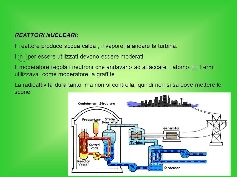 REATTORI NUCLEARI: Il reattore produce acqua calda, il vapore fa andare la turbina. I n per essere utilizzati devono essere moderati. Il moderatore re
