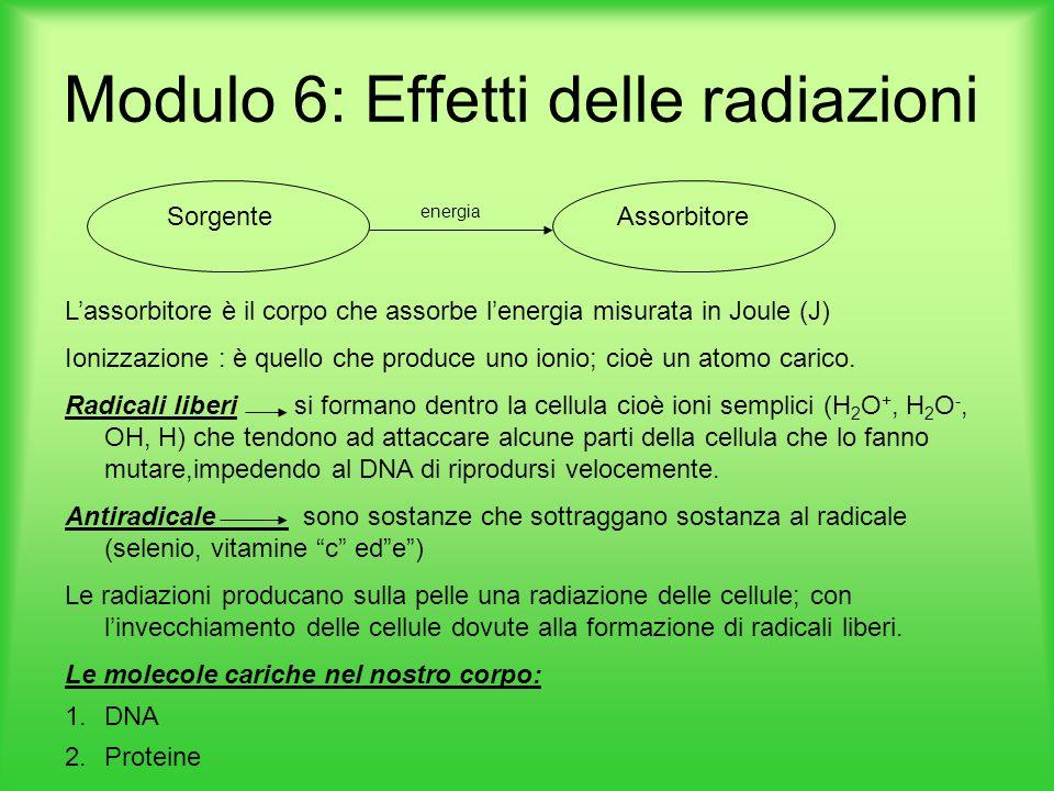 Modulo 6: Effetti delle radiazioni Sorgente energia Assorbitore L'assorbitore è il corpo che assorbe l'energia misurata in Joule (J) Ionizzazione : è