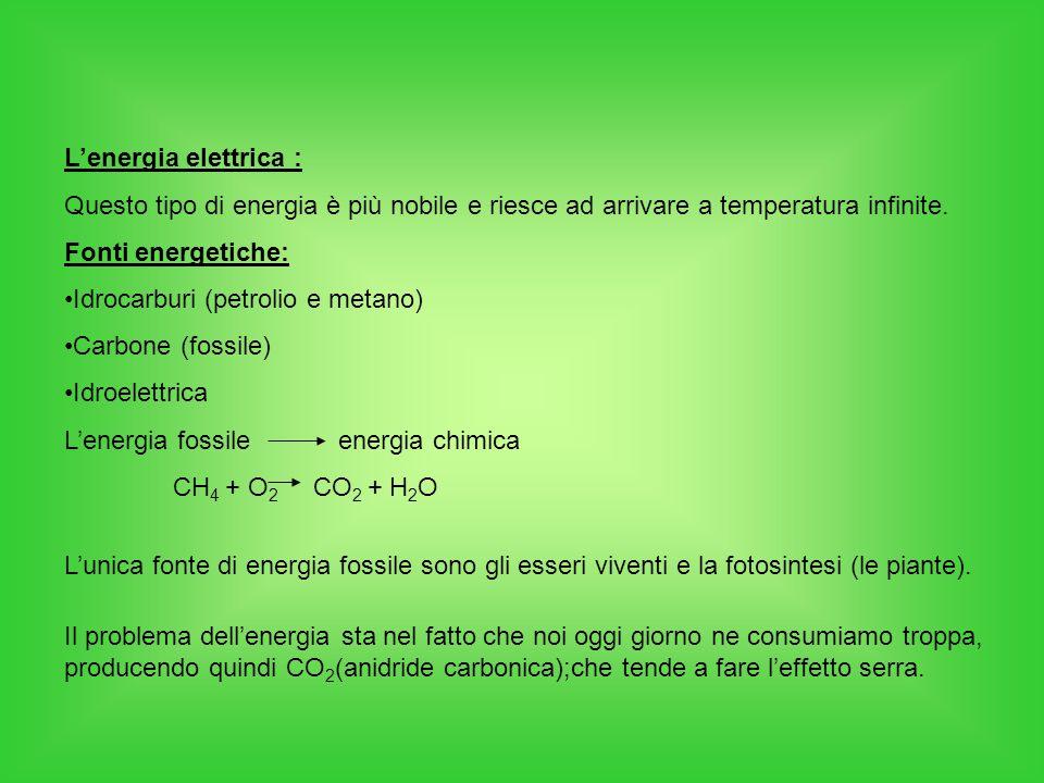 L'energia elettrica : Questo tipo di energia è più nobile e riesce ad arrivare a temperatura infinite. Fonti energetiche: Idrocarburi (petrolio e meta