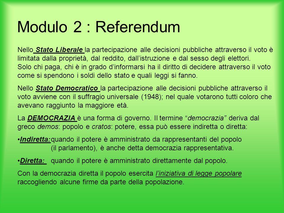 Modulo 2 : Referendum Nello Stato Liberale la partecipazione alle decisioni pubbliche attraverso il voto è limitata dalla proprietà, dal reddito, dall