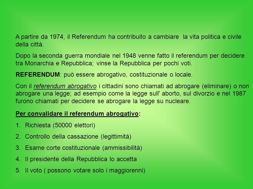 A partire da 1974, il Referendum ha contribuito a cambiare la vita politica e civile della città. Dopo la seconda guerra mondiale nel 1948 venne fatto