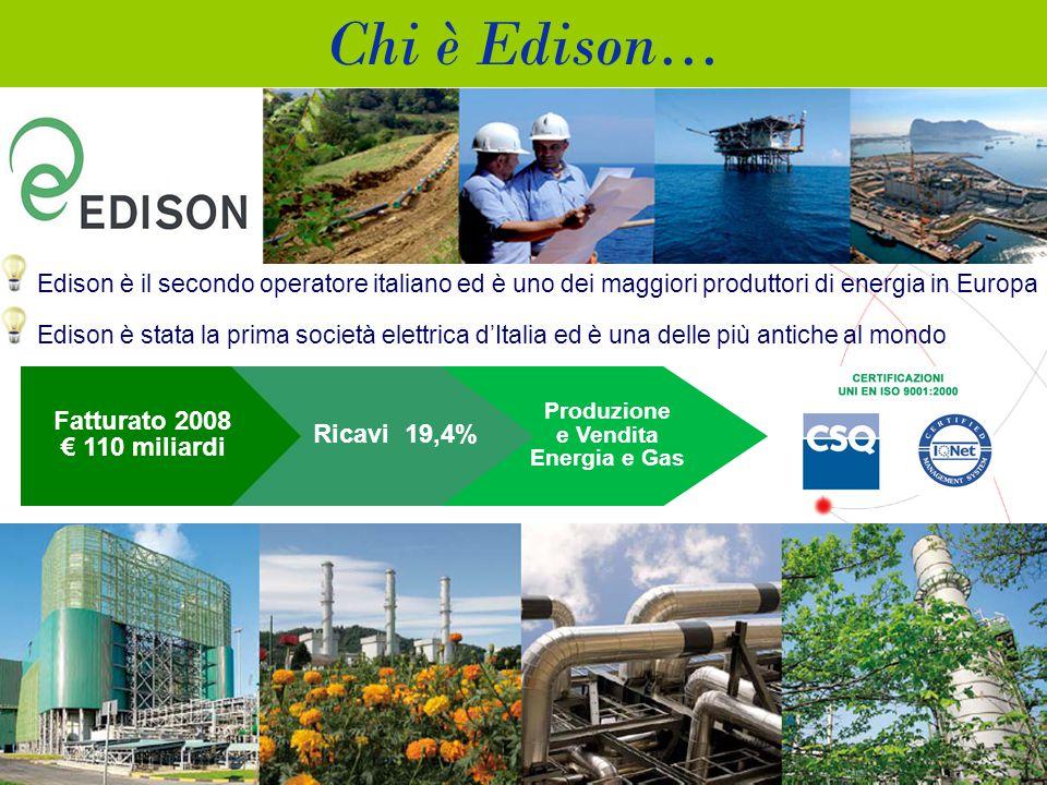 7 Produzione e Vendita Energia e Gas Ricavi 19,4% Fatturato 2008 € 110 miliardi Edison è il secondo operatore italiano ed è uno dei maggiori produttori di energia in Europa Edison è stata la prima società elettrica d'Italia ed è una delle più antiche al mondo Chi è Edison…