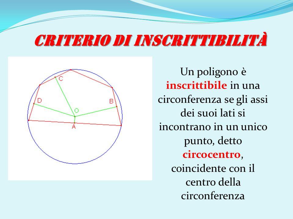 CRITERIO DI INSCRITTIBILITÀ Un poligono è inscrittibile in una circonferenza se gli assi dei suoi lati si incontrano in un unico punto, detto circocen