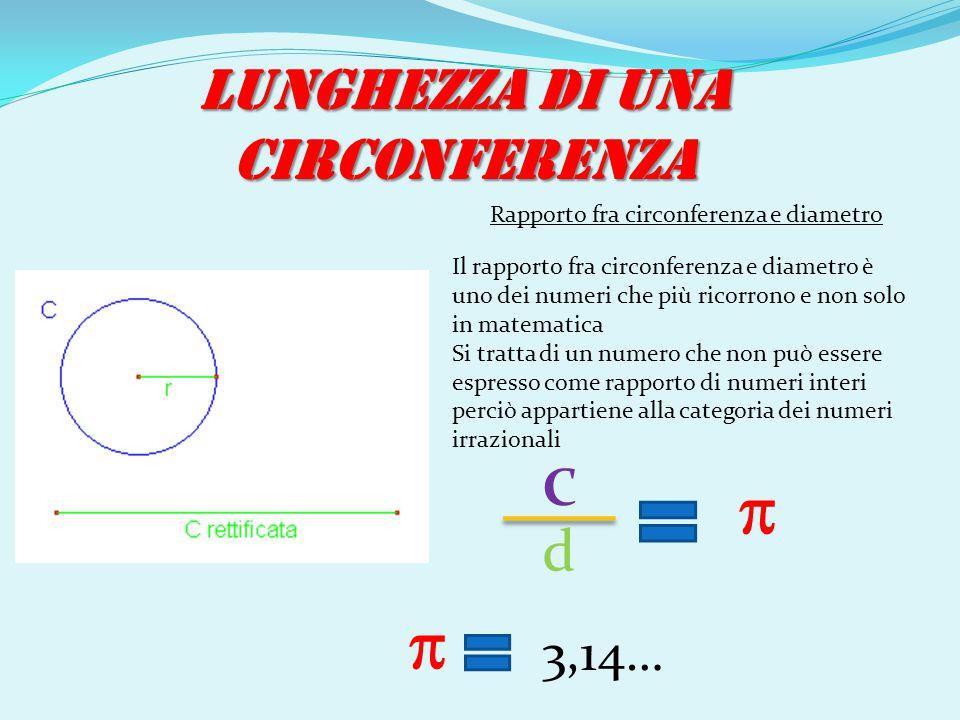 LUNGHEZZA DI UNA CIRCONFERENZA Il rapporto fra circonferenza e diametro è uno dei numeri che più ricorrono e non solo in matematica Si tratta di un nu