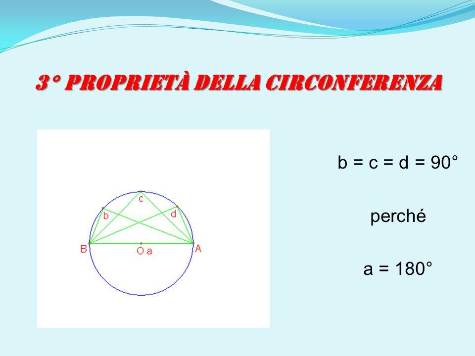 3° PROPRIETÀ DELLA CIRCONFERENZA b = c = d = 90° perché a = 180°