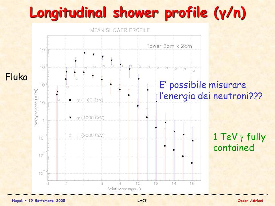 Napoli – 19 Settembre 2005LHCfOscar Adriani Longitudinal shower profile (γ/n) Fluka E' possibile misurare l'energia dei neutroni .