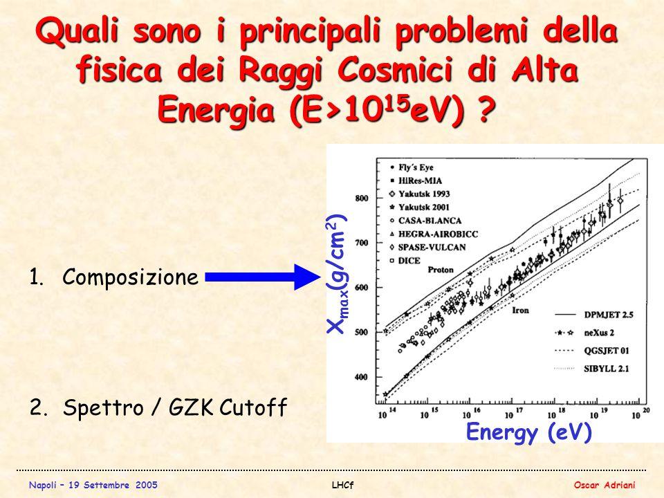 Napoli – 19 Settembre 2005LHCfOscar Adriani Quali sono i principali problemi della fisica dei Raggi Cosmici di Alta Energia (E>10 15 eV) .