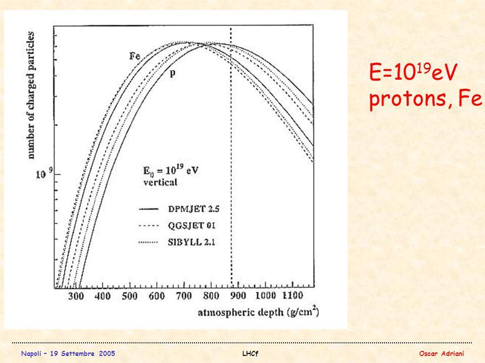 Napoli – 19 Settembre 2005LHCfOscar Adriani E=10 19 eV protons, Fe