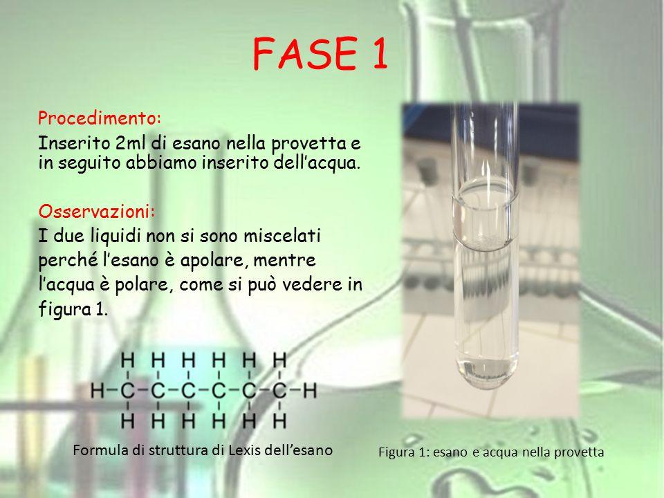 FASE 2 Procedimento: Inserito 2ml di etanolo e 2ml di esano nella provetta.