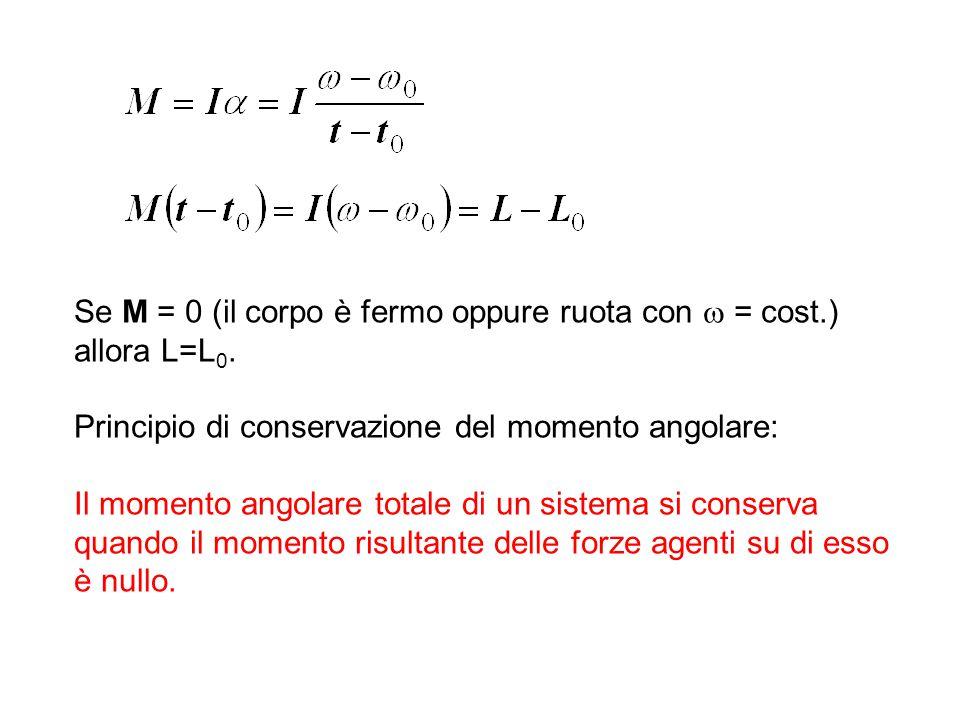 Se M = 0 (il corpo è fermo oppure ruota con  = cost.) allora L=L 0. Principio di conservazione del momento angolare: Il momento angolare totale di un