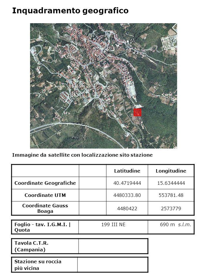 Immagine da satellite con localizzazione sito stazione Foglio - tav. I.G.M.I. | Quota 199 III NE690 m s.l.m. Inquadramento geografico LatitudineLongit