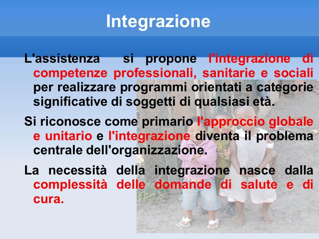Integrazione L'assistenza si propone l'integrazione di competenze professionali, sanitarie e sociali per realizzare programmi orientati a categorie si