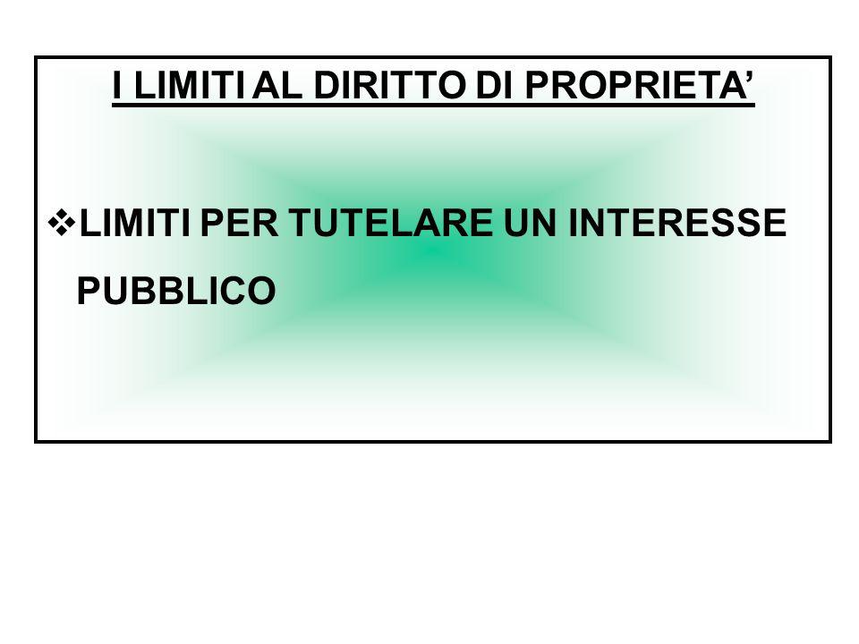 I LIMITI AL DIRITTO DI PROPRIETA'  LIMITI PER TUTELARE UN INTERESSE PUBBLICO