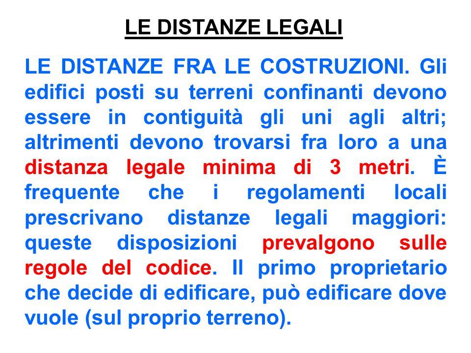 LE DISTANZE LEGALI LE DISTANZE FRA LE COSTRUZIONI. Gli edifici posti su terreni confinanti devono essere in contiguità gli uni agli altri; altrimenti