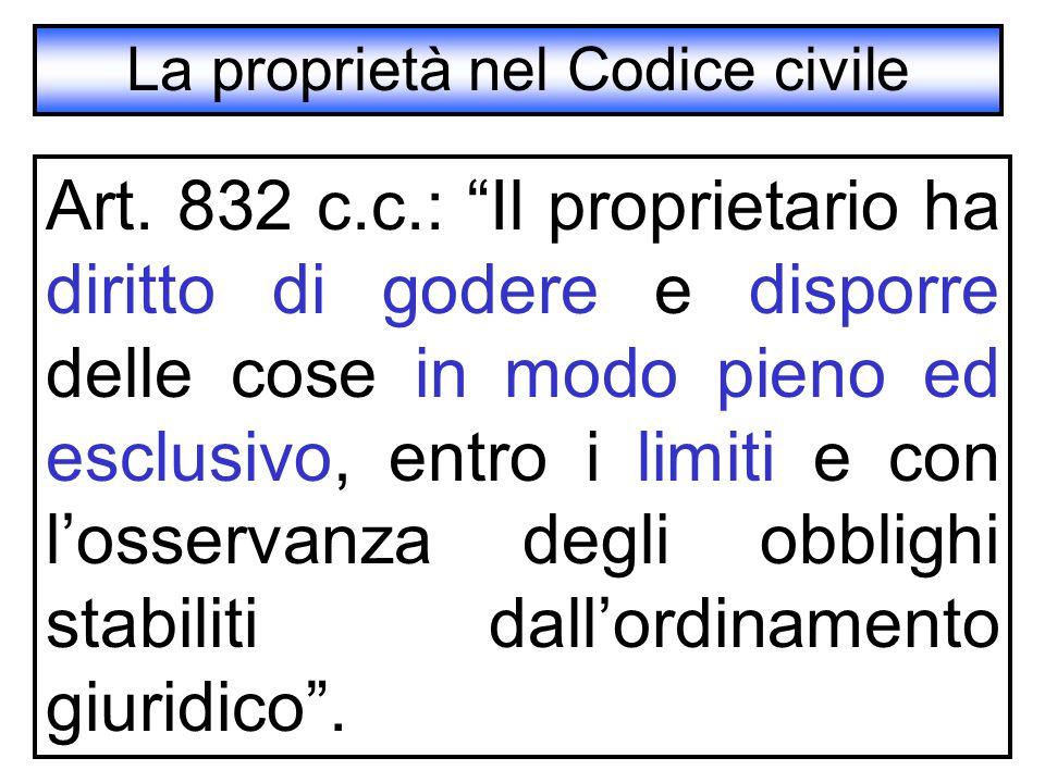 """La proprietà nel Codice civile Art. 832 c.c.: """"Il proprietario ha diritto di godere e disporre delle cose in modo pieno ed esclusivo, entro i limiti e"""