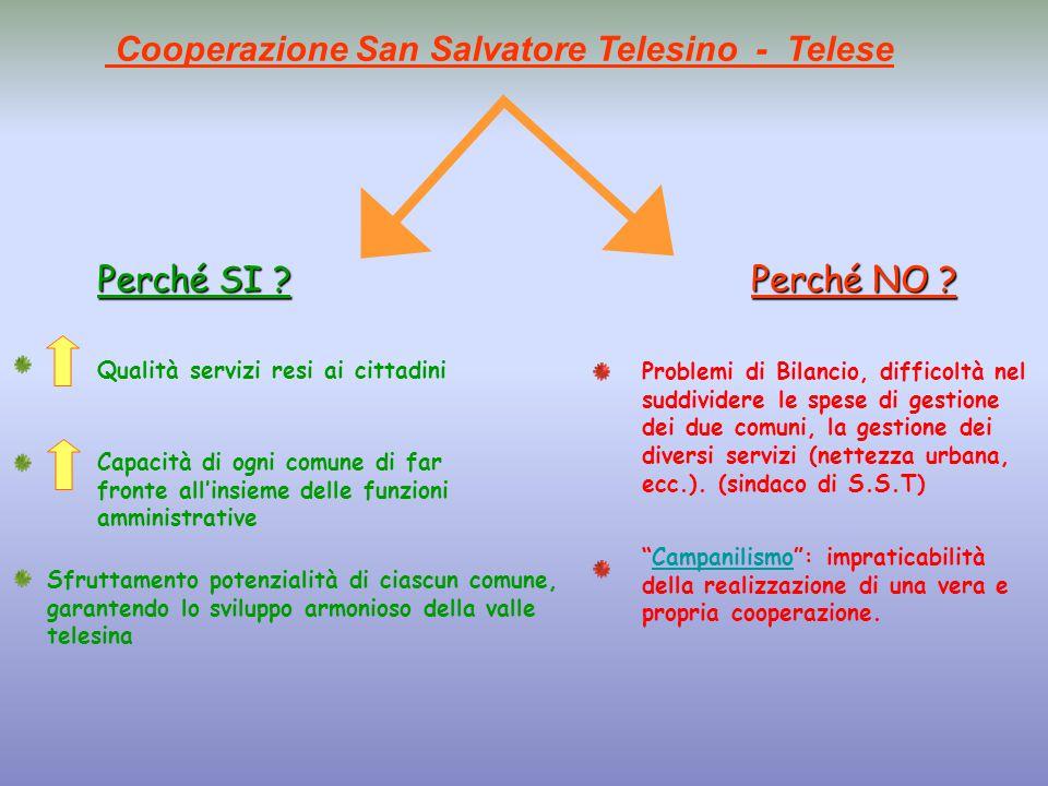 Cooperazione San Salvatore Telesino - Telese Perché SI ?Perché NO .