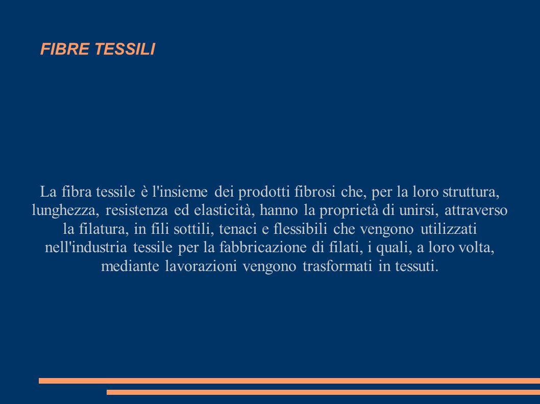 FIBRE TESSILI La fibra tessile è l'insieme dei prodotti fibrosi che, per la loro struttura, lunghezza, resistenza ed elasticità, hanno la proprietà di