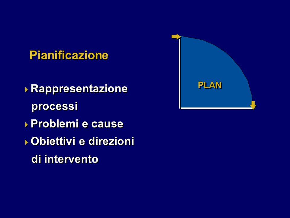 PLAN Pianificazione  Rappresentazione processi  Problemi e cause  Obiettivi e direzioni di intervento  Rappresentazione processi  Problemi e cause  Obiettivi e direzioni di intervento
