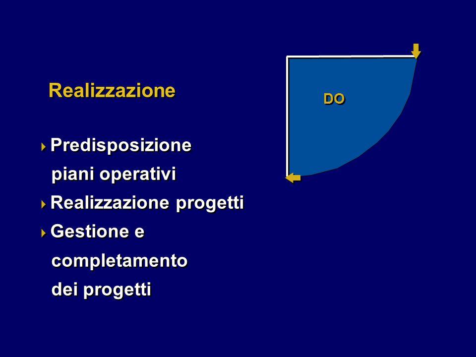 DO Realizzazione  Predisposizione piani operativi  Realizzazione progetti  Gestione e completamento dei progetti  Predisposizione piani operativi  Realizzazione progetti  Gestione e completamento dei progetti