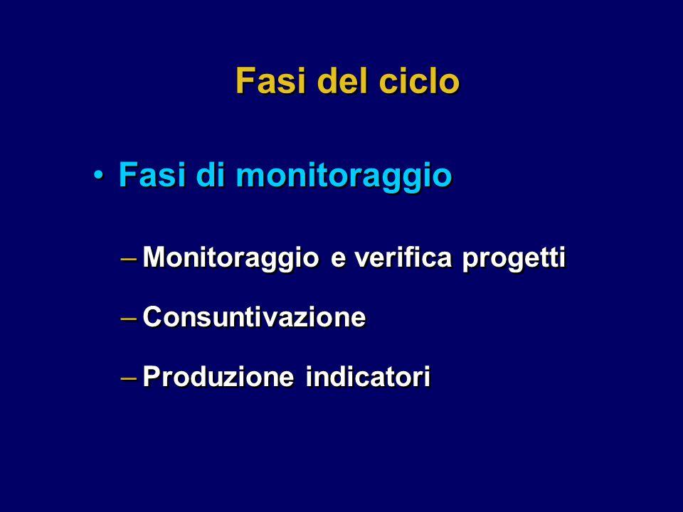 Fasi del ciclo –Monitoraggio e verifica progetti –Consuntivazione –Produzione indicatori –Monitoraggio e verifica progetti –Consuntivazione –Produzione indicatori Fasi di monitoraggio