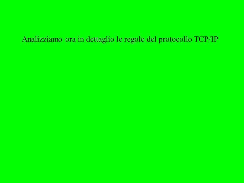 Analizziamo ora in dettaglio le regole del protocollo TCP/IP
