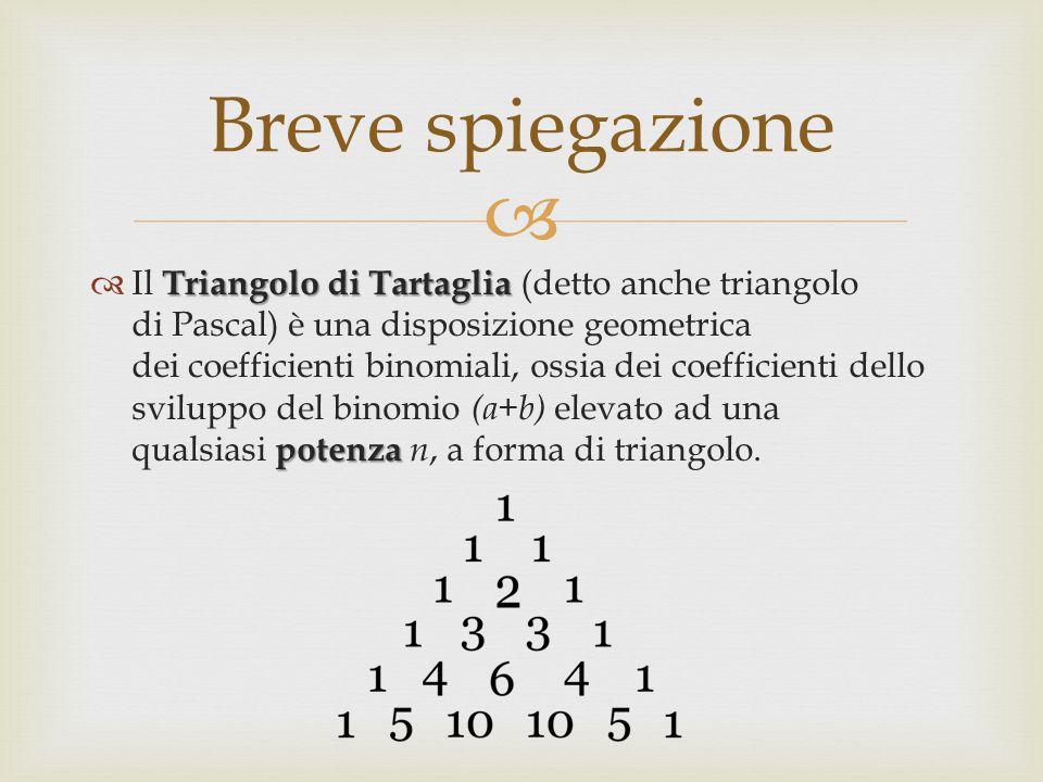  Triangolo di Tartaglia potenza  Il Triangolo di Tartaglia (detto anche triangolo di Pascal) è una disposizione geometrica dei coefficienti binomiali, ossia dei coefficienti dello sviluppo del binomio (a+b) elevato ad una qualsiasi potenza n, a forma di triangolo.