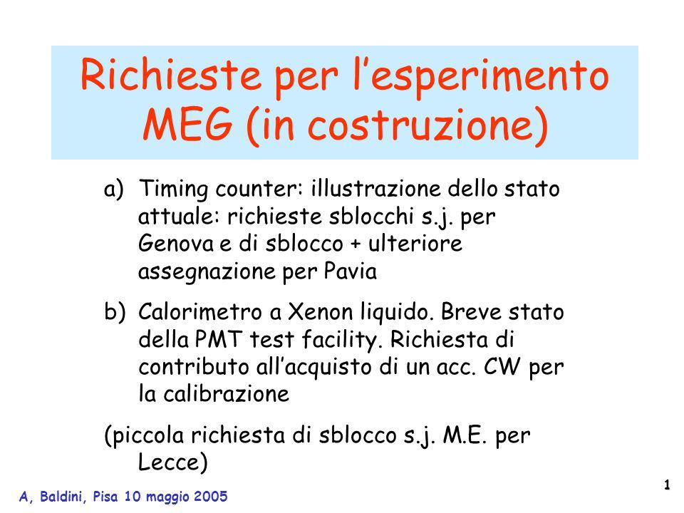 1 A, Baldini, Pisa 10 maggio 2005 Richieste per l'esperimento MEG (in costruzione) a)Timing counter: illustrazione dello stato attuale: richieste sblocchi s.j.