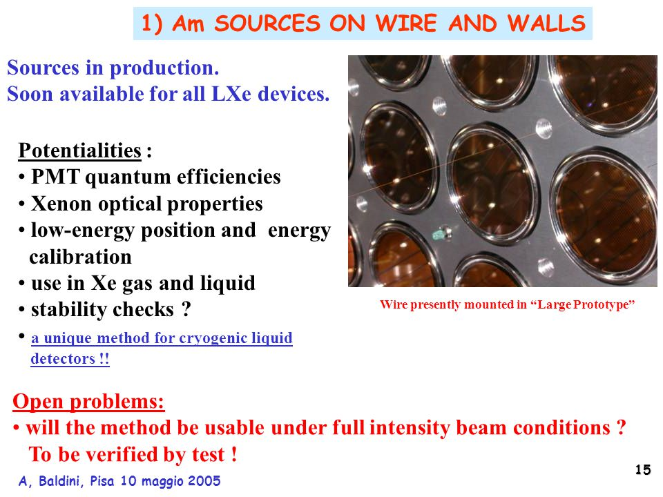 15 A, Baldini, Pisa 10 maggio 2005 Wire presently mounted in Large Prototype 1) Am SOURCES ON WIRE AND WALLS Potentialities : PMT quantum efficiencies Xenon optical properties low-energy position and energy calibration use in Xe gas and liquid stability checks .