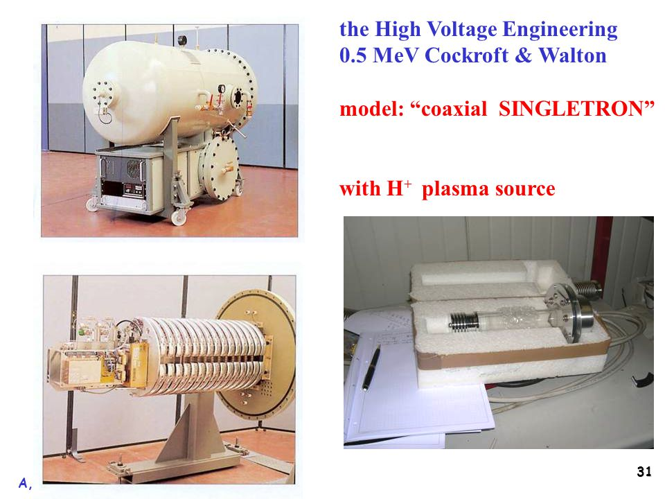 31 A, Baldini, Pisa 10 maggio 2005 the High Voltage Engineering 0.5 MeV Cockroft & Walton model: coaxial SINGLETRON with H + plasma source