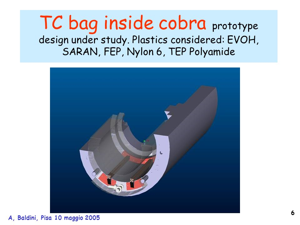 6 A, Baldini, Pisa 10 maggio 2005 TC bag inside cobra prototype design under study. Plastics considered: EVOH, SARAN, FEP, Nylon 6, TEP Polyamide