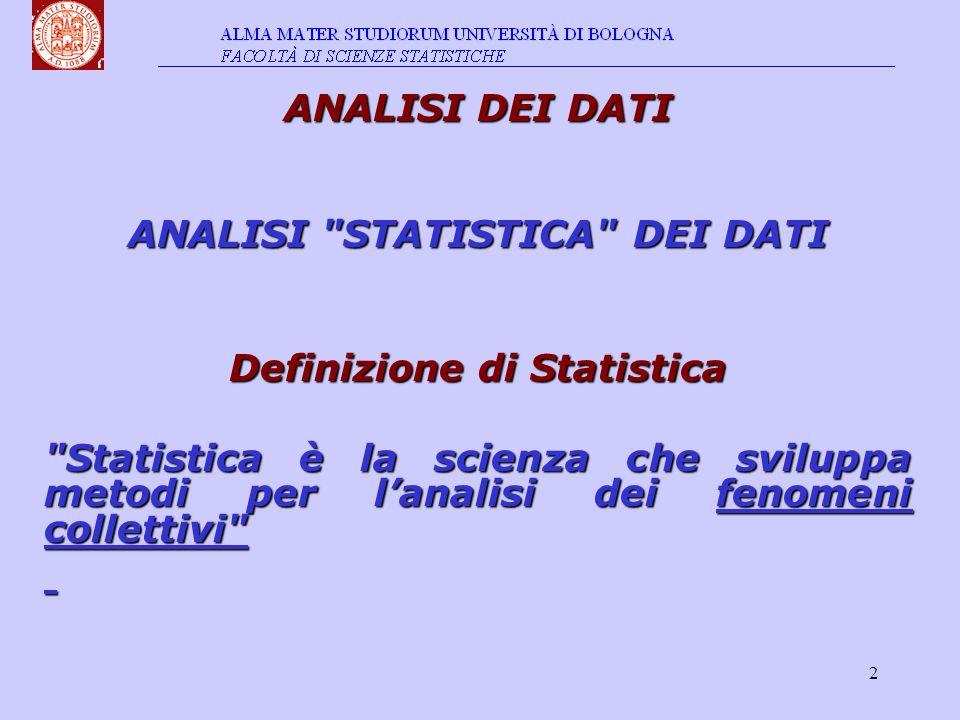 2 ANALISI DEI DATI ANALISI STATISTICA DEI DATI Definizione di Statistica Statistica è la scienza che sviluppa metodi per l'analisi dei fenomeni collettivi