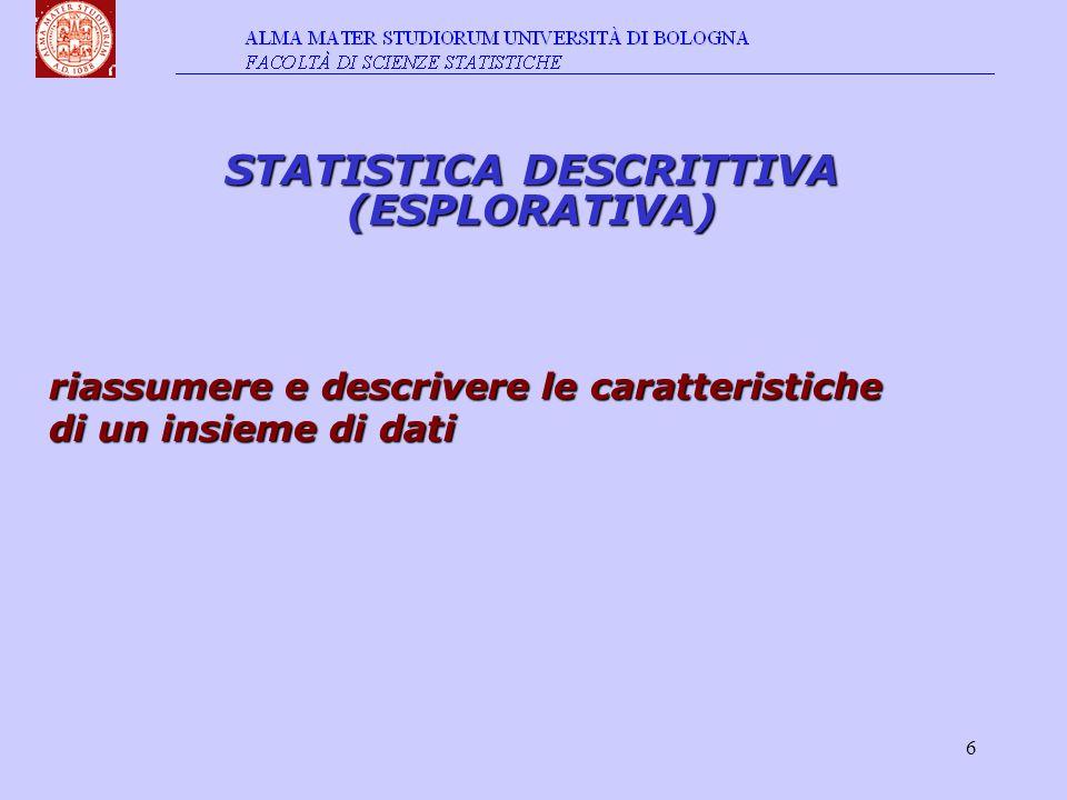 7 STATISTICA INFERENZIALE desumere le caratteristiche dell intera popolazione sulla base dei risultati del campione ANALISI UNIVARIATE ANALISI MULTIVARIATE · associazioni · dipendenza