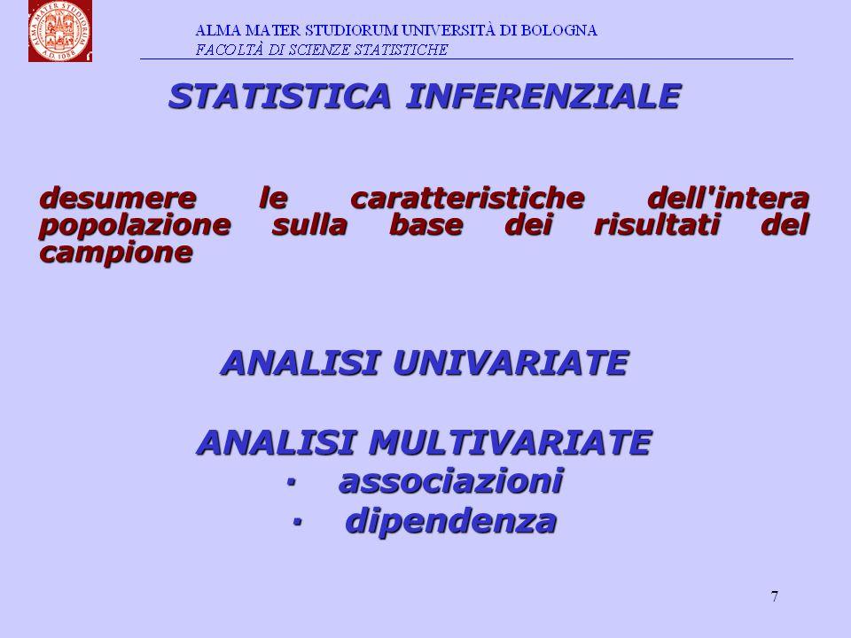 8 Statistica: Statistica: metodo Oggetto: Oggetto: insiemi di unità Analisi: Analisi: caratteristiche variabili