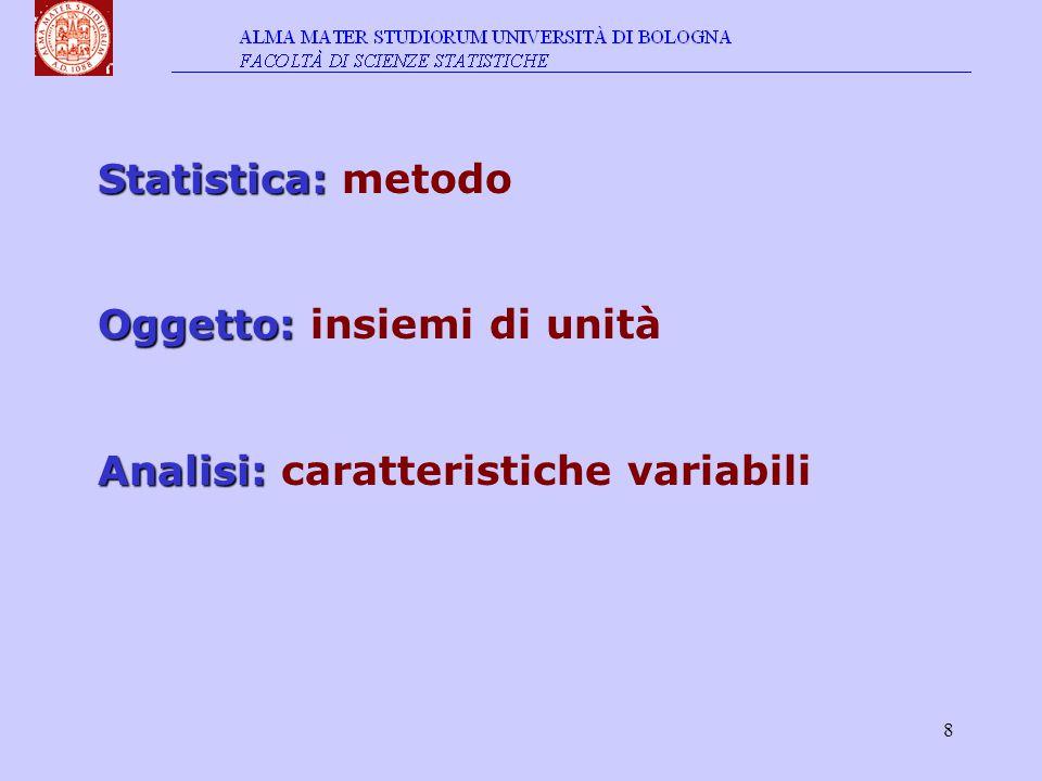 19 In simboli n-pla di stati di grandezza di una variabile X insieme statistico di n unità (x 1, x 2,…,x j,…, x n-1, x n ) { x j ; j=1,…,n }