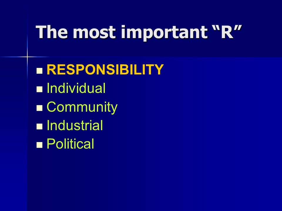 The most important R RESPONSIBILITY Individual Community Industrial Political