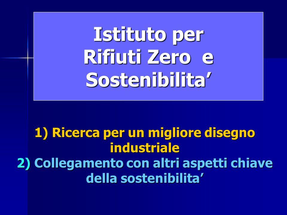 Istituto per Rifiuti Zero e Sostenibilita' 1) Ricerca per un migliore disegno industriale 2) Collegamento con altri aspetti chiave della sostenibilita