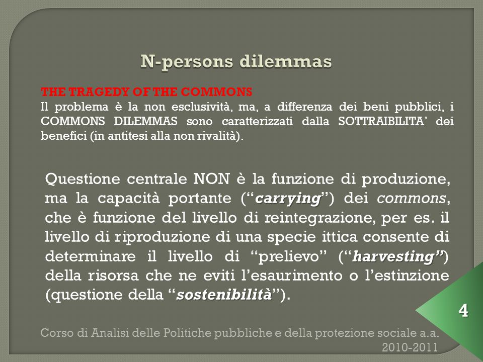 Corso di Analisi delle Politiche pubbliche e della protezione sociale a.a.
