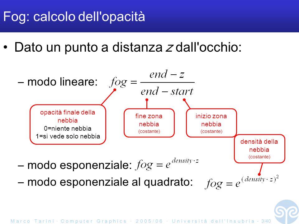 M a r c o T a r i n i ‧ C o m p u t e r G r a p h i c s ‧ 2 0 0 5 / 0 6 ‧ U n i v e r s i t à d e l l ' I n s u b r i a - 3/40 Dato un punto a distanza z dall occhio: –modo lineare: –modo esponenziale: –modo esponenziale al quadrato: Fog: calcolo dell opacità fine zona nebbia (costante) inizio zona nebbia (costante) opacità finale della nebbia 0=niente nebbia 1=si vede solo nebbia densità della nebbia (costante)